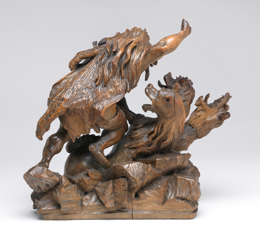 An image of Figure group/sculpture. Hercules slaying Cerberus. Unknown South German Workshop. Limewood, carved, height, whole, 28.5 cm, circa 1680-1720. Baroque.
