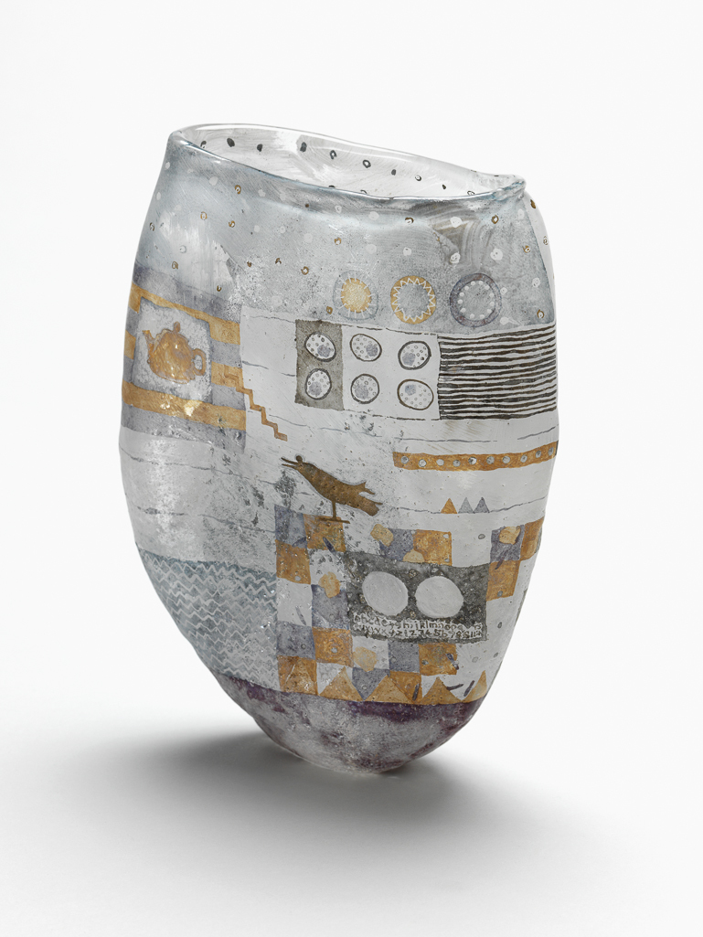 An image of Studio Glass. Tea and the Indian Bird. Lowe, Liz. Glass vase. Clear glass, blown into a soft sand mould, sandblasted, hand-painted in white, pale purple, and grey enamels and gold, 1997. Gift of Nicholas and Judith Goodison through the National Art Collections Fund.