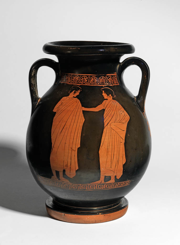 An image of Vessel/Pelike/Jar. Pelike with a seated king (Aigeus and Theseus), and two draped youths. Clay, red-figured, height 0.505m, width 0.225m. Classical Period. 440-430 B.C. Production place: Athens.