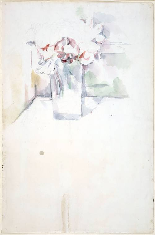 An image of Recto: Les Bois, Aix-en-Provence. Verso: Still-life flowers in a jar (unfinished). Cézanne, Paul (French, 1839-1906). Watercolour over graphite, on white paper, height 466mm, width 300mm, circa 1890.