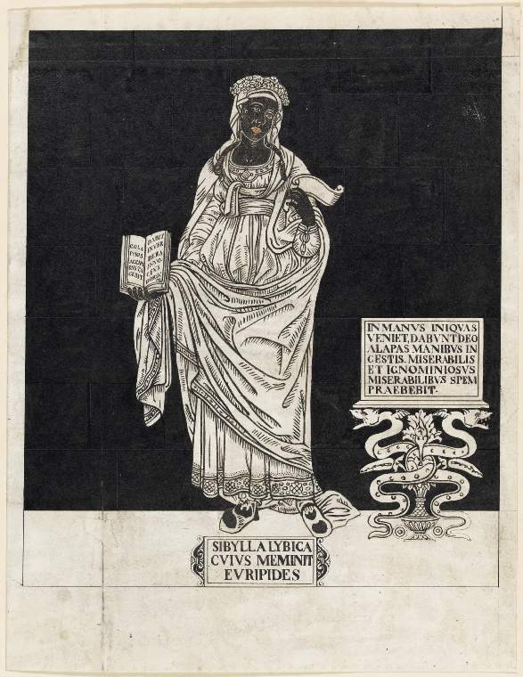 An image of Title/s: Drawing reduced from tracings taken from the inlaid marble pavement of Siena Cathedral during its restoration in the nineteenth centuryTitle/s: The Libyan Sibyl Maker/s: Maccari, Leopoldo (draughtsman) [ULAN info: Italian artist, 1850-1894?]Technique Description: pen and black ink, black and pink wash on paper Dimensions: height: (visible size): 322 mm, width: (visible size): 248 mm